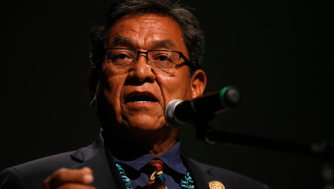 Navajo Nation President Russell Begaye talks with community members during a public meeting Thursday, July 20, 2015, in Shiprock, N.M. The quality of San Juan River water on the Navajo Nation has returned to what it was before a spill at a Colorado gold mine sent toxic sludge into the waterway, federal officials said Thursday. (Jon Austria/The Daily Times via AP) MANDATORY CREDIT
