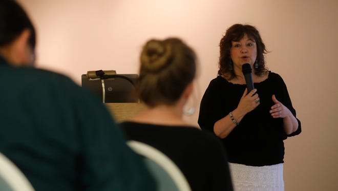 New Mexico Department of Cultural Affairs Cabinet Secretary Veronica Gonzales speaks Friday at the Farmington Museum at Gateway Park.