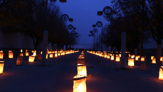 Luminarias are displayed at San Juan College in Farmington on Dec. 6 as part of the school's annual display.