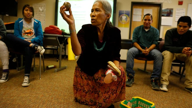 Rose Nofchissey, a Diné studies instructor, teaches a class on Wednesday at Navajo Preparatory School in Farmington. On Friday and Saturday, Navajo Prep will host a workshop on teaching students the Navajo language.