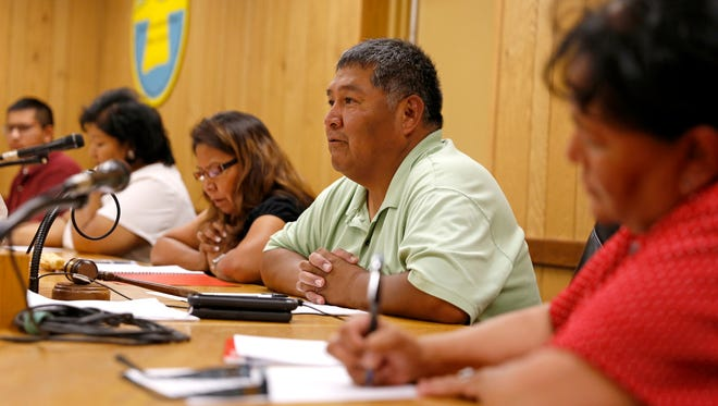 President Charlie Jones Jr. starts the Aug. 24 Central Consolidated School District board meeting in the Shiprock Board Room in Shiprock.