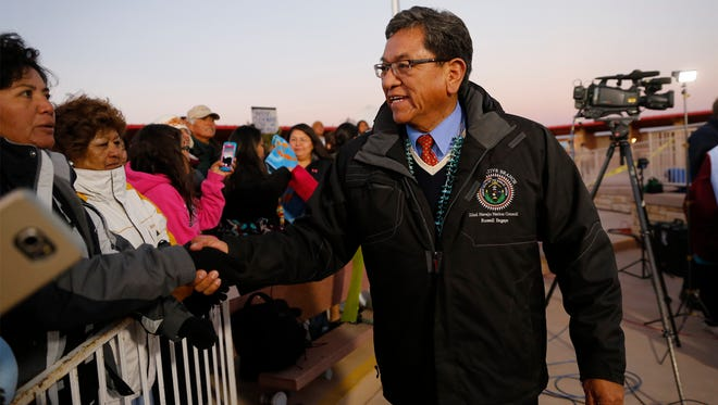 Navajo Nation President Russell Begaye greets people on Nov. 9 at the Four Corners Monument.
