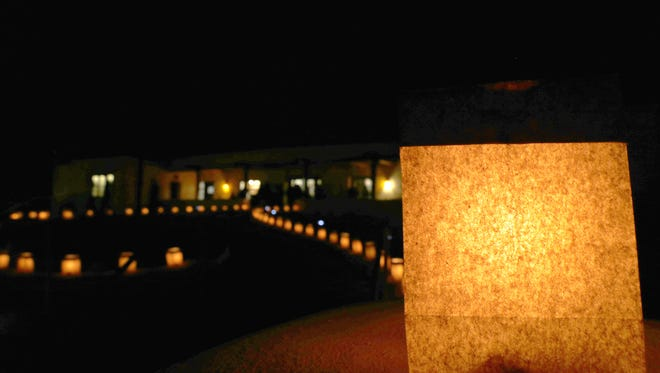 Luminarias are displayed Dec. 11 at the entrance to Aztec Ruins National Monument  during the Evening of Lights.