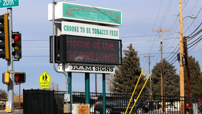 The Farmington High School marquee is pictured on Thursday from the corner of North Sunrise Avenue and 20th Street in Farmington.