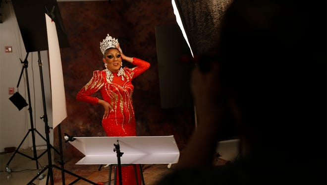 Lady Shug poses for photographer Megan Riggs of Mirrored Moments Photography Dec. 11 at San Juan College in Farmington. Shug was named Miss New Mexico Pride 2016 in November.