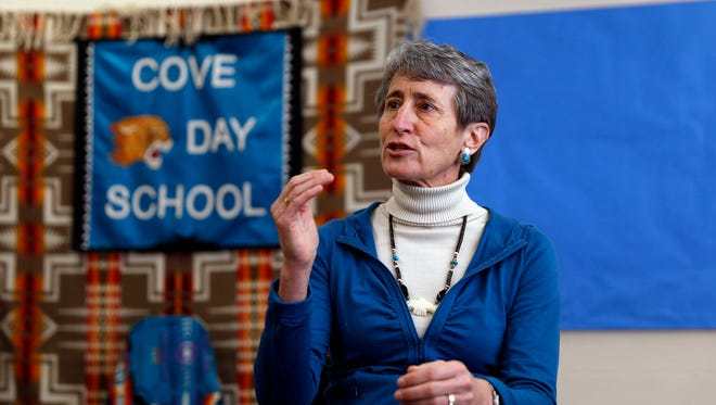 U.S. Secretary of the Interior Sally Jewell talks in a press conference Thursday during a visit to the Cove Day School in Cove, Ariz.