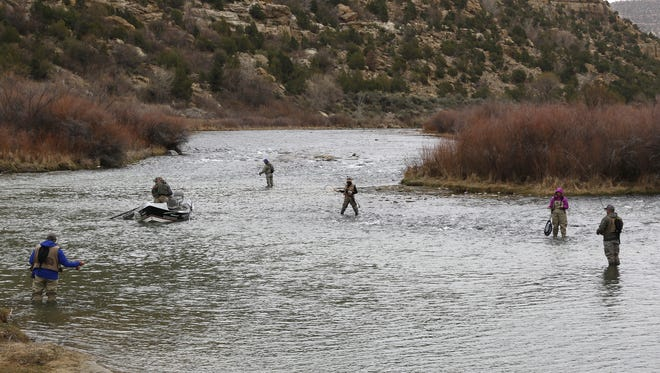 Anglers fish on March 29 at the Texas Hole on the San Juan River.