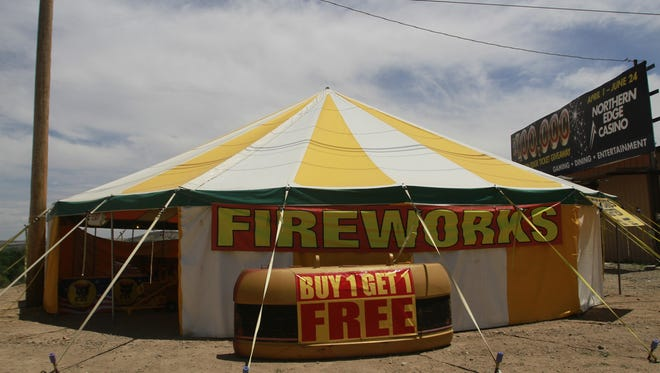 A Burnham Industries' fireworks stand is pictured on June 25 in Flora Vista. Local law enforcement agencies received dozens of complaints about fireworks during the recent Fourth of July weekend.