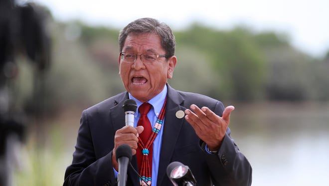 Navajo Nation President Russell Begaye speaks during a press conference on Tuesday at Nizhoni Park in Shiprock.