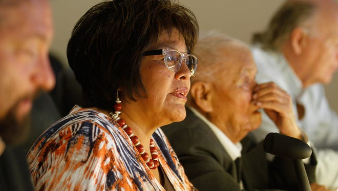 N.M. Rep. Sharon Clahchischilliage, R-Kirtland, speaks about the Gold King Mine spill during an Indian Affairs Committee meeting on Monday at the San Juan Chapter house in Lower Fruitland. Clahchischilliage chairs the committee.