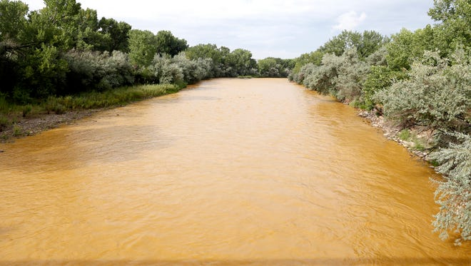 The discolored Animas River is pictued on Aug. 8, 2015, at Berg Park in Farmington after the Gold King Mine spill.