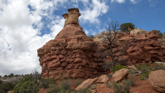 A hoodoo stands along the Sand Canyon Trail at the Canyon of the Ancients National Monument in Cortez, Colo., on April 27.