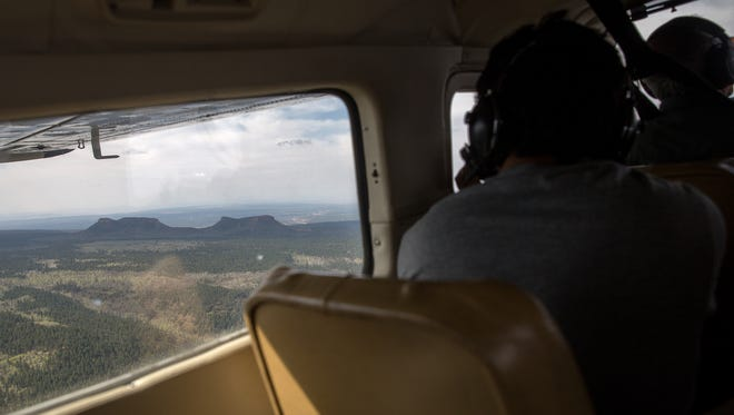 An EcoFlight tour takes members of the media over Bears Ears, Monday, May 8, 2017 West of Blanding, Utah.