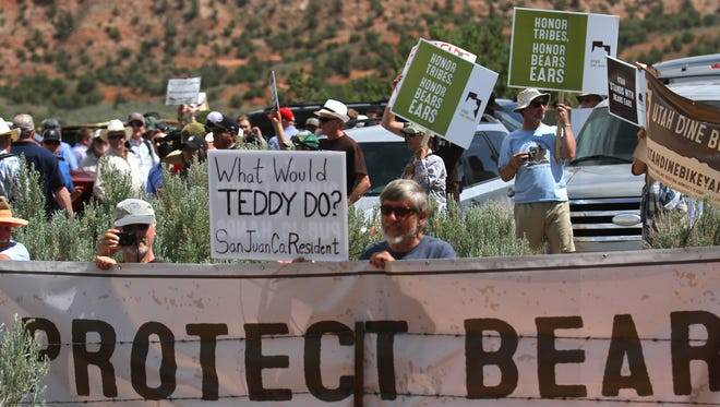 Bears Ears supporters wait for U.S. Interior Secretary Ryan Zinke, Monday, May 8, 2017 at Butler Wash southwest of Blanding, Utah.