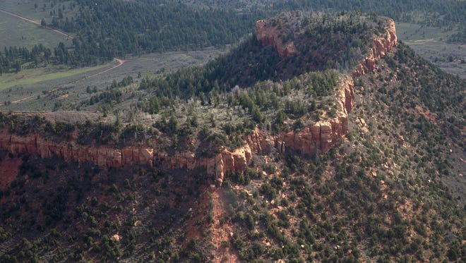Bears Ear National Monument is pictured during a flyover with EcoFlight, Monday, May 8, 2017, west of Blanding, Utah.