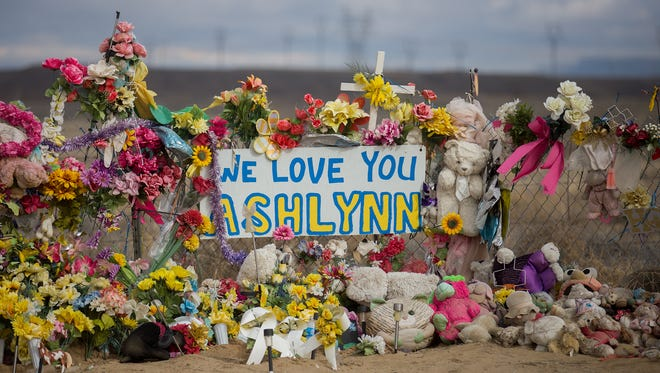 A memorial for Ashlynne Mike is pictured Jan. 17 near the girl's home in Lower Fruitland.