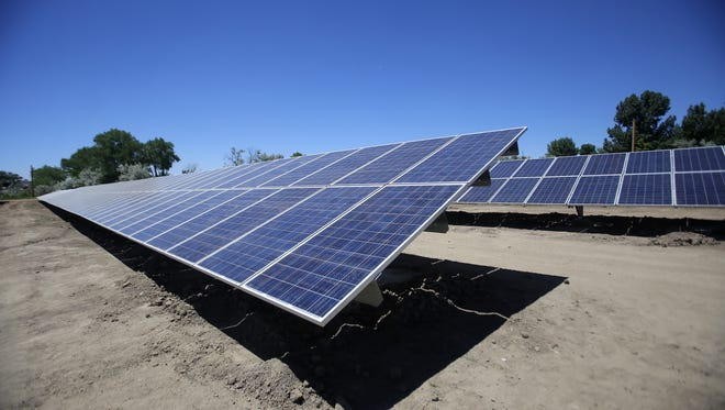 The city of Aztec's created this solar farm on land off Western Drive. Farmington is considering building its own solar facility, and will discuss that concept at a public meeting on Wednesday.