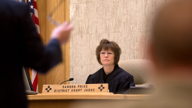 District Court Judge Sandra Price, who is retiring at the end of the year, presides over a sentencing, hearing on May 2 at the Farmington District Court.