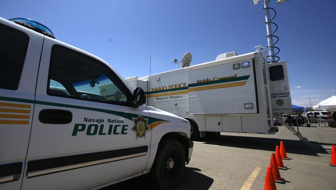 A Navajo Nation Police Department vehicle and mobile command center was part of Law Enforcement Day at the Shiprock Police Department on May 5, 2016.