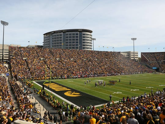 A view of Kinnick Stadium during the Iowa-Illinois