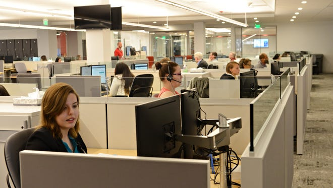 """Employees train in the """"learning nucleus"""" at the new Comcast call center on Thursday, April 13, 2017."""