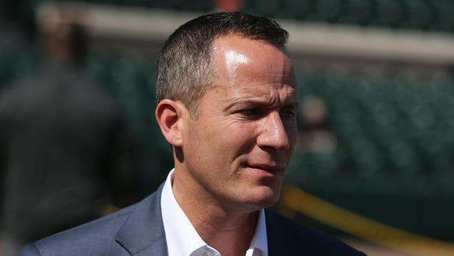 Tigers owner Chris Ilitch on the field Friday, Feb. 24, 2017 at Publix Field at Joker Marchant Stadium in Lakeland, Fla.