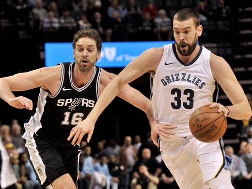 Memphis Grizzlies center Marc Gasol (33) drives against his brother and San Antonio Spurs center, Pau Gasol, during the first half of an NBA basketball game Wednesday, Jan. 24, 2018, in Memphis, Tenn. (AP Photo/Brandon Dill)