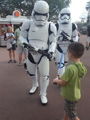 Rowan Peart of Brighton faces off with a Stormtrooper
