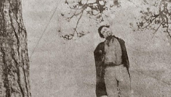 This photo of James Daniels' hanging in 1866 clearly