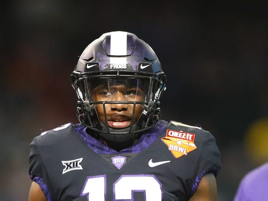 Dec 26, 2018; Phoenix, AZ, USA; Texas Christian Horned Frogs cornerback Jeff Gladney (12) against the California Golden Bears in the 2018 Cheez-It Bowl at Chase Field. Mandatory Credit: Mark J. Rebilas-USA TODAY Sports
