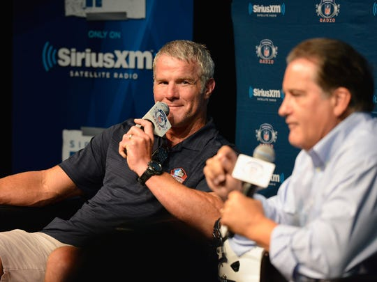 Brett Favre and Steve Mariucci do a SiriusXM radio show together Friday in Canton, Ohio.