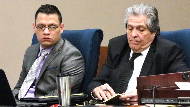 Antonio Lopez, left, sits with his attorney, Jaime Gandara, last week in 171st District Court.