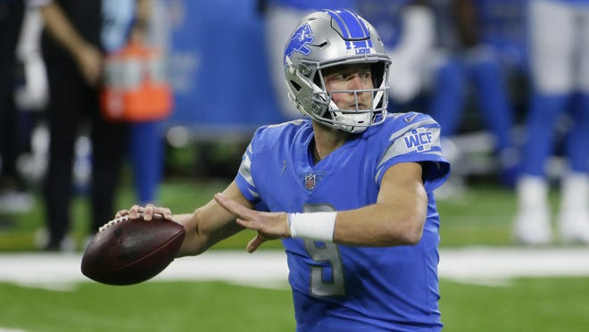 Detroit Lions quarterback Matthew Stafford throws during the first half of an NFL football game against the Washington Football Team, Sunday, Nov. 15, 2020, in Detroit.