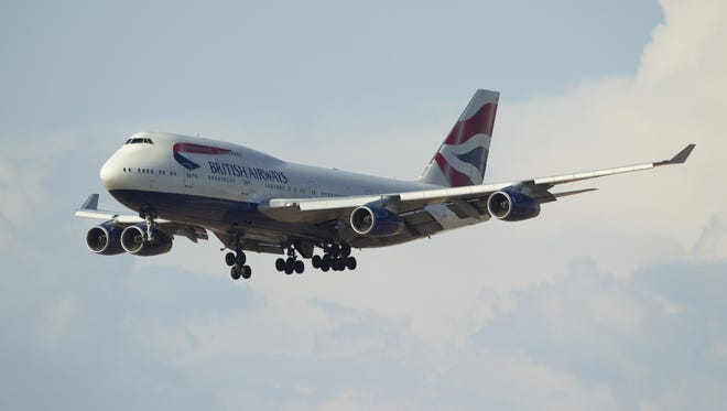 A British Airways 747-400 lands on Tuesday, June 28, 2016, at Sky Harbor International Airport in Phoenix.