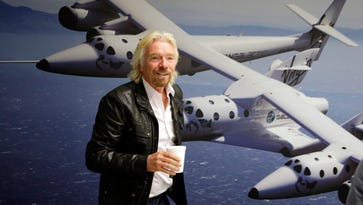 Richard Branson at the Virgin Galactic hangar at Mojave Air and Space Port in Mojave, Calif.