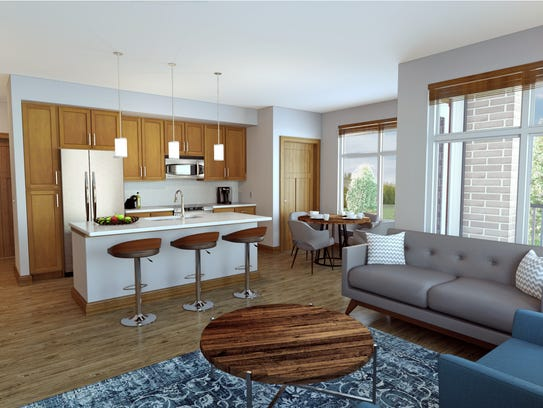 A rendering of an apartment in the Howard Commons apartment