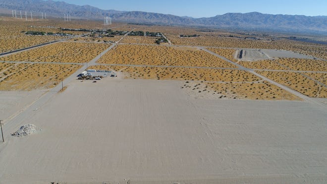 Grading work begins on a large marijuana cultivation project in Desert Hot Springs, Calif.  The Coachillin' Holdings Industrial Park is one of several that are currently breaking ground in Desert Hot Springs.