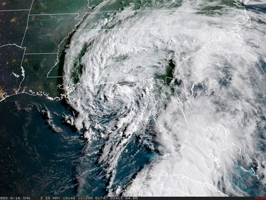 A GOES satellite view of Subtropical Storm Alberto.