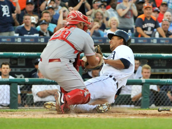 Detroit Tigers' Anthony Gose is called out at home