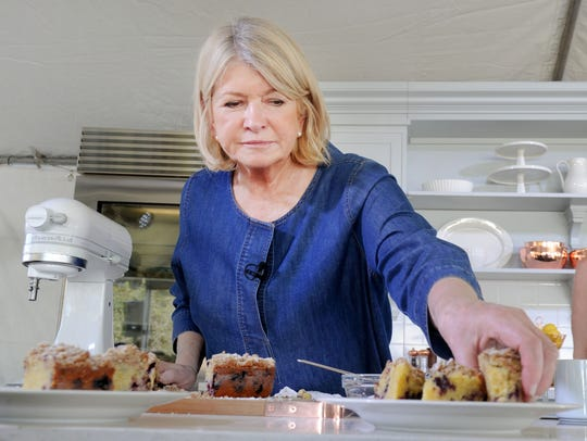 Martha Stewart shares her recipe for blueberry-cornmeal cake at a Wine & Food Experience event in Indianapolis.