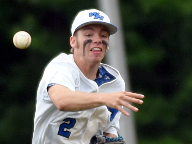 White House High senior shortstop Brian Mullins throws to first base during the fourth inning of Monday's first game.