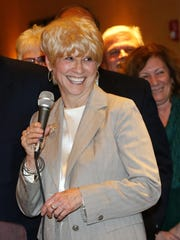 """Ocean County Freeholder-designate Virginia """"Ginny"""" Haines prepares to address the county GOP committee following a unanimous voice vote to make her a freeholder by the estimated 600 Republican members present."""