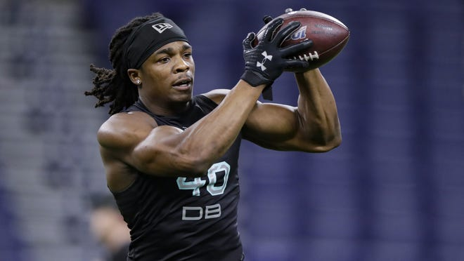 Defensive back Kyle Dugger, who was the Patriots second-round draft pick out of Lenoir-Rhyne, runs a drill at the NFL Combine last winter. With Patrick Chung opting out, Dugger is a candidate to start at safety.