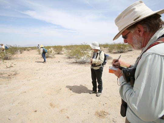 Research Ecologist Cameron Barrows makes a record of lizards found in Joshua Tree National Park. Barrows and citizen scientists were conducting a survey of plants and animals to record the effects of climate change over time.