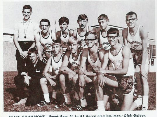 The Spring Grove cross country team won the league, district and state championships in 1966, just the second year of the program's existence. The team is pictured here in a PH Glatfelter employee newsletter from the 1960s.