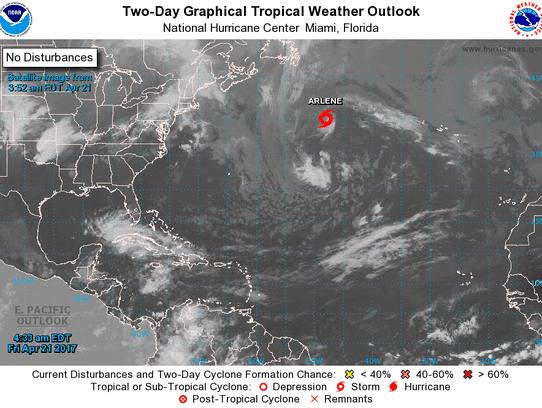 Tropical Storm Arlene April 21, 2017, 5 a.m.