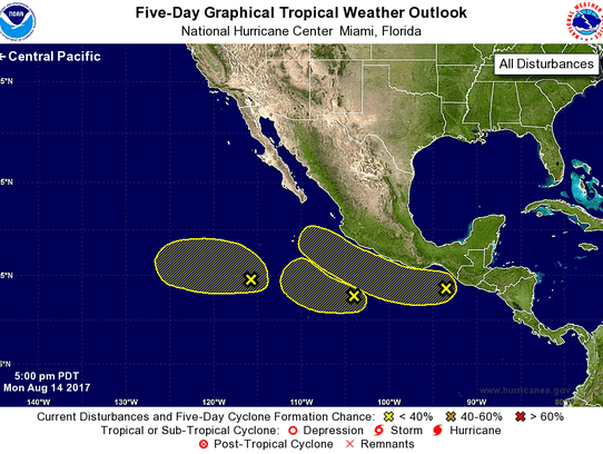 Tropical outlook in the Pacific as off 8 p.m. Monday,