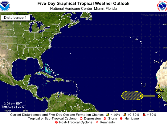 A tropical wave formed off Africa's west coast Thursday,