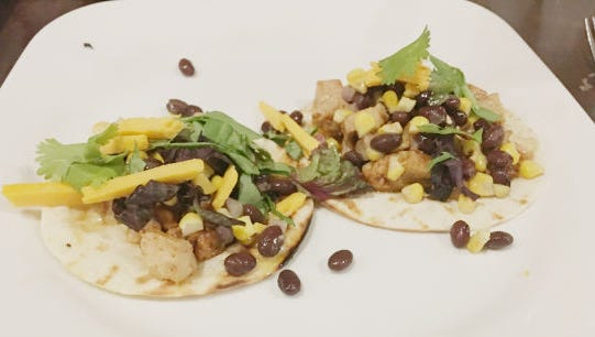 Tack and Jibe, A Nautical Eatery's barbecue chicken tacos with black bean and corn salsa.