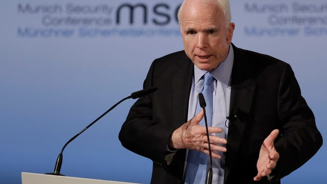 Sen. John McCain, R-Ariz., speaks during the Munich Security Conference in Munich, Germany, on Feb. 17, 2017. The annual weekend gathering is known for providing an open and informal platform to meet in close quarters.